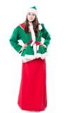 Het elf van de Kerstmisvrouw, op witte achtergrond wordt geïsoleerd die Stock Fotografie