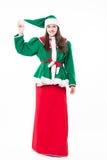 Het elf van de Kerstmisvrouw, op witte achtergrond wordt geïsoleerd die Royalty-vrije Stock Afbeelding