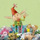 Het Elf van Kerstmis dat door Speelgoed wordt omringd Stock Fotografie