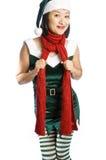 Het Elf van Kerstmis dat op Wit wordt geïsoleerd Royalty-vrije Stock Afbeeldingen