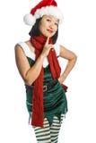 Het Elf van Kerstmis dat op Wit wordt geïsoleerd Stock Foto