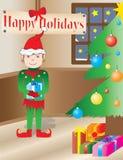 Het Elf van Kerstmis in een vakantiebinnenland Vector Illustratie