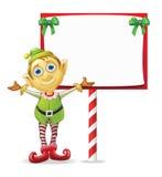 Het Elf van Kerstmis met Teken Stock Afbeeldingen