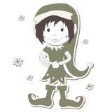 Het Elf van Kerstmis op witte achtergrond royalty-vrije illustratie