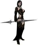 Het elfstrijder van de vrouw met spear Stock Afbeeldingen