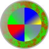 Het embleem colourfull ontwerpt, blauw, gele, rode, en groene combo voor embleem stock illustratie