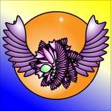 Het embleem is een abstractie van de bloem en de vleugels vector illustratie