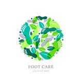 Het embleem, het etiket of het embleemontwerpelementen van de voetzorg Zool, voetafdruk en groene bladeren in cirkelvorm vector illustratie