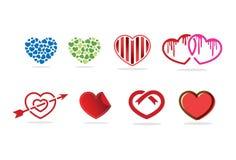 Het embleem, het symbool en het pictogram van het liefdehart Royalty-vrije Stock Afbeelding