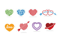 Het embleem, het symbool en het pictogram van het liefdehart Royalty-vrije Stock Afbeeldingen