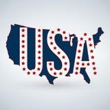 Het embleem of het pictogram van de V.S. met de brieven van de V.S. over de kaart en 50 sterren, de Verenigde Staten van Amerika  royalty-vrije illustratie