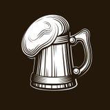 Het embleem van het ambachtbier - vectorillustratie, het ontwerp van de embleembrouwerij op donkere achtergrond Stock Foto's