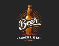 Het embleem van bierflessen, embleem op donkere achtergrond royalty-vrije illustratie