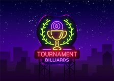 Het embleem van biljarttoernooien in neonstijl Het Ontwerpmalplaatje van het neonteken voor Biljartclub, Bar, Lichte Banner, Nach royalty-vrije illustratie