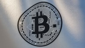 Het embleem van Bitcoincryptocurrency op golvende witte vlag Royalty-vrije Stock Foto's