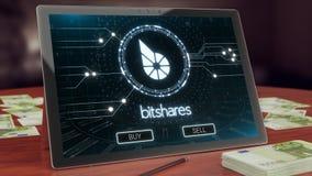 Het embleem van Bitsharescryptocurrency op de PC-tablet, 3D illustratie royalty-vrije illustratie