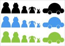 Het Embleem van de Auto van de Hond van de Groep van de familie Stock Afbeeldingen