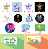 Het embleem van de babyopslag Het pictogram van het speelgoedembleem Het embleemmalplaatje van de babywinkel Stock Afbeeldingen