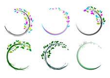 Het embleem van de bladcirkel, kuuroord, massage, gras, pictogram, installatie, onderwijs, yoga, gezondheid, en aardconceptontwer royalty-vrije illustratie
