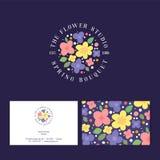Het embleem van de bloemmarkt Bloemenembleem Installatie en bloemenstudio Identiteit, adreskaartje, patroon stock illustratie