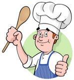Het Embleem van de Chef-kok van het beeldverhaal Royalty-vrije Stock Afbeeldingen
