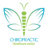 Het embleem van de chiropraktijkkliniek met vlinder, symbool van hand en rotatie stock illustratie