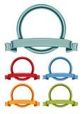 Het embleem van de cirkel en van het lintenbeeldverhaal Royalty-vrije Stock Fotografie
