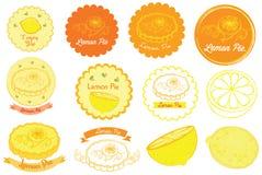 Het Embleem van de citroenpastei en Vectorpictogram Stock Afbeelding
