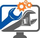 Het embleem van de computerdienst royalty-vrije illustratie