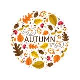 Het embleem van de de herfstcirkel royalty-vrije illustratie