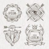 Het embleem van de de lijnkunst van de tatoegeringsstijl royalty-vrije illustratie