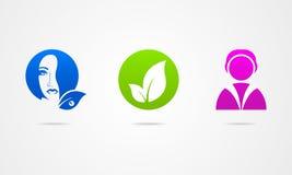 Het embleem van de de lijstgezondheid van het bedrijfspictogrammeisje Stock Fotografie