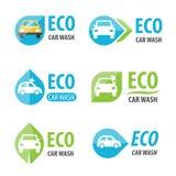 Het embleem van de Ecoautowasserette Stock Afbeeldingen