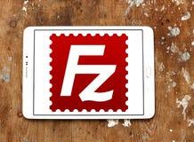 Het embleem van de FileZillatoepassing stock foto's