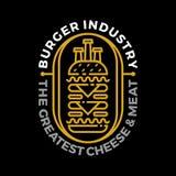 Het embleem van de hamburgerindustrie royalty-vrije illustratie