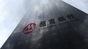 Het embleem van de de Handelaarsbank van China op een wolkenkrabbervoorgevel die op wolken wijzen Het redactie 3D teruggeven Royalty-vrije Stock Foto's
