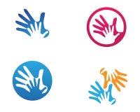 Het embleem van de handhulp en van het symbolenmalplaatje pictogrammen app stock illustratie