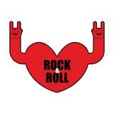 Het embleem van de hartrots Rots - en - broodjeshand Muzikaal embleem stock illustratie