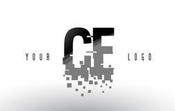 Het Embleem van de het Pixelbrief van Ce C E met Digitale Verbrijzelde Zwarte Vierkanten Stock Fotografie