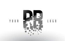 Het Embleem van de het Pixelbrief van PR P R met Digitale Verbrijzelde Zwarte Vierkanten Royalty-vrije Stock Fotografie