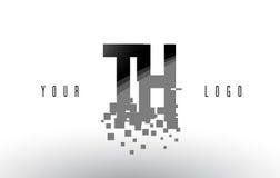 Het Embleem van de het Pixelbrief van Th T H met Digitale Verbrijzelde Zwarte Vierkanten Stock Foto's