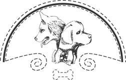 Het embleem van de hondwinkel Stock Foto
