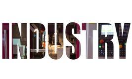 Het embleem van de de industrietekst stock afbeelding