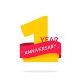 het embleem van de 1 jaarverjaardag, het 1st etiket van het verjaardagspictogram, het symbool van de één jaarverjaardag Royalty-vrije Stock Foto's