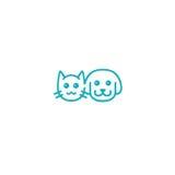 Het Embleem van de kat en van de Hond Vectorillustratiemalplaatje Royalty-vrije Stock Fotografie