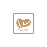 Het embleem van de koffieboon, pictogram Royalty-vrije Stock Afbeeldingen
