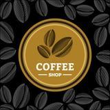Het embleem van de koffiewinkel met drie bonen in ronde vorm royalty-vrije illustratie