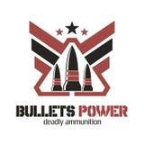 Het embleem van de kogelsmacht Dodelijke munitie Stock Foto