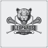Het embleem van de lacrosseclub met luipaardhoofd Royalty-vrije Stock Foto