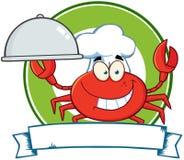 Het Embleem van de Mascotte van het Beeldverhaal van de Chef-kok van de krab Stock Afbeeldingen